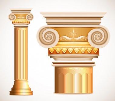 Gold greece column. Vector