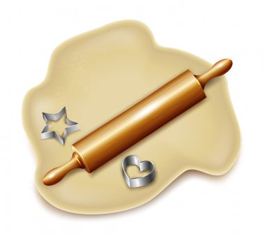 Dough, rolling pin, cookie cutters. Vector