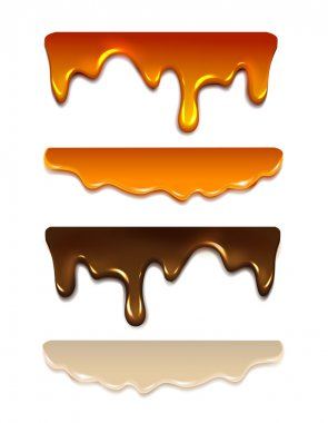 Set Melting chocolate, milk cream, liquid caramel, honey. Vector