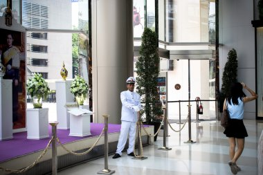THAILAND MARCH 28 2013 BANGKOK Security guard in Siam paragon mall