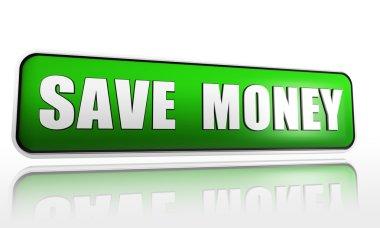 Save money in green banner