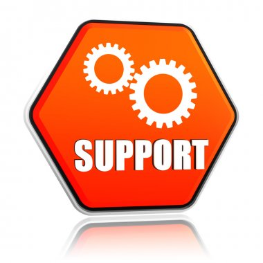 support and gears sign in hexagon button