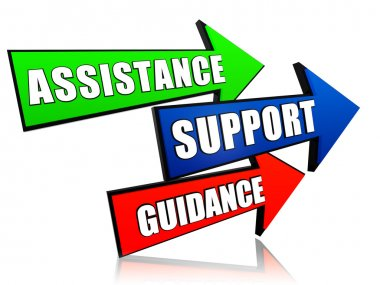 Assistance, support, guidance in arrows