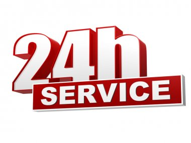 24h service red white banner - letters and block