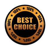 Fotografie best choice 100 percentages in golden black circle label