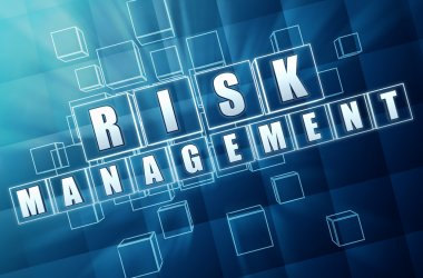 risk management in blue glass cubes