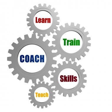 coach and business concept words in silver grey gears