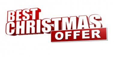 Best christmas offer in 3d red letters and block