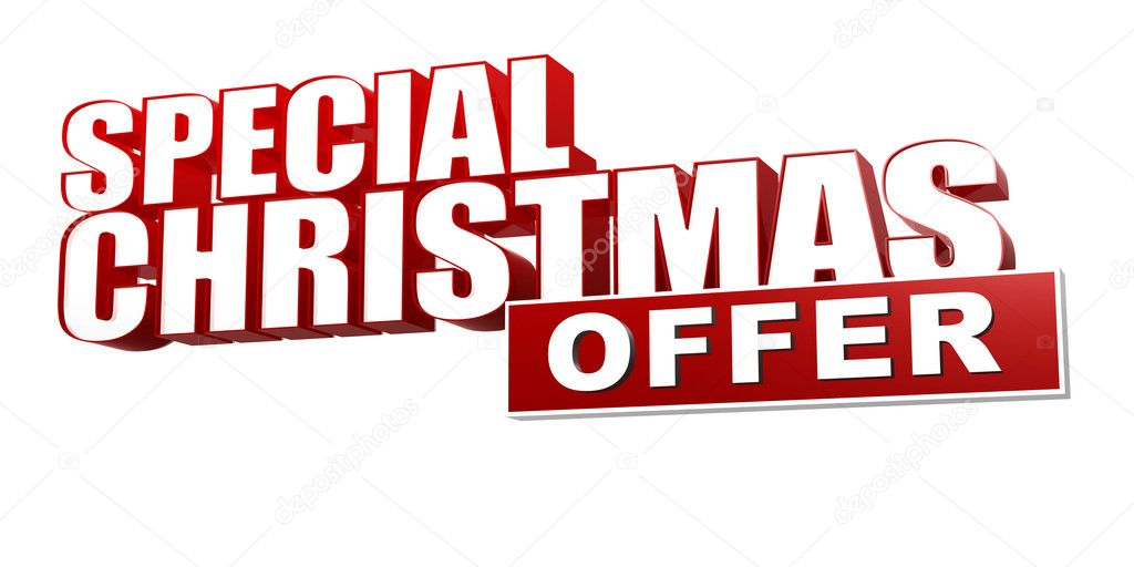Special christmas offer in 3d red letters and block — Stock