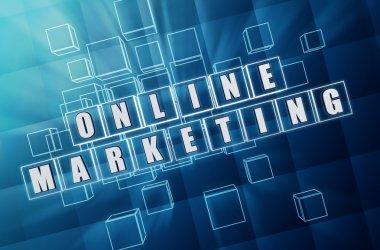 online marketing in blue glass blocks