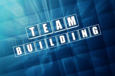 team building in blue glass blocks