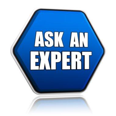 Ask an expert in blue hexagon