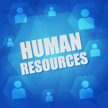 Human resource and person signs in hexagons