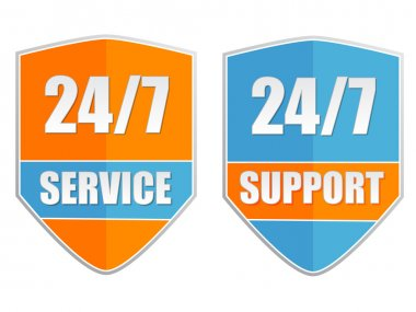 24 7 service and support, two labels