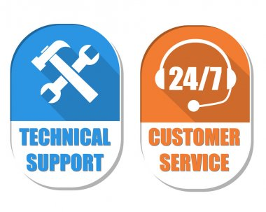 Technical support with tools sign and 24 7 customer service, two
