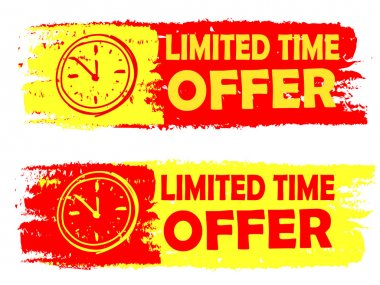 Limited time offer with clock sign, yellow and red drawn labels
