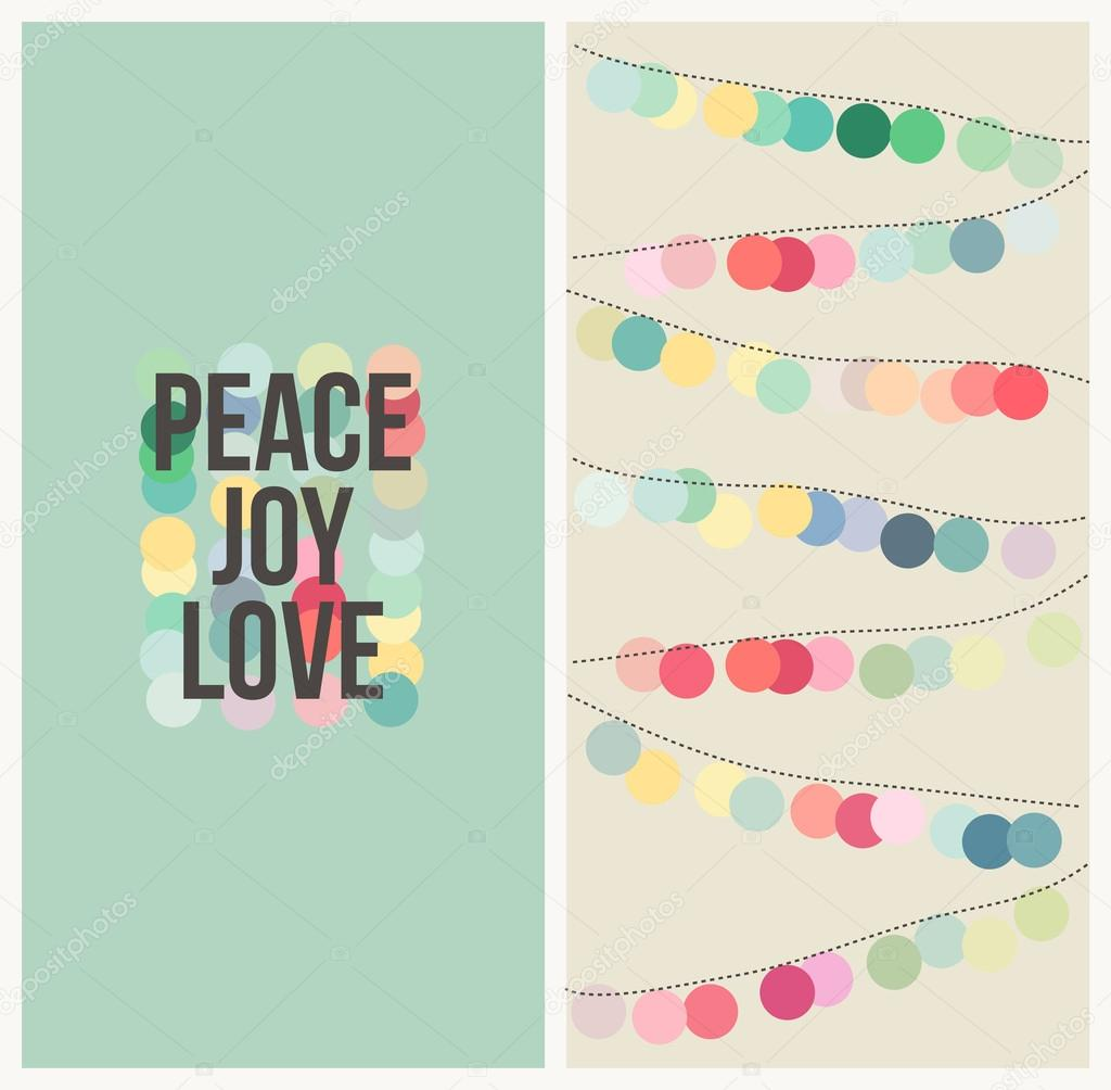 Peace, love, joy. Multicolored design. Vector illustration.
