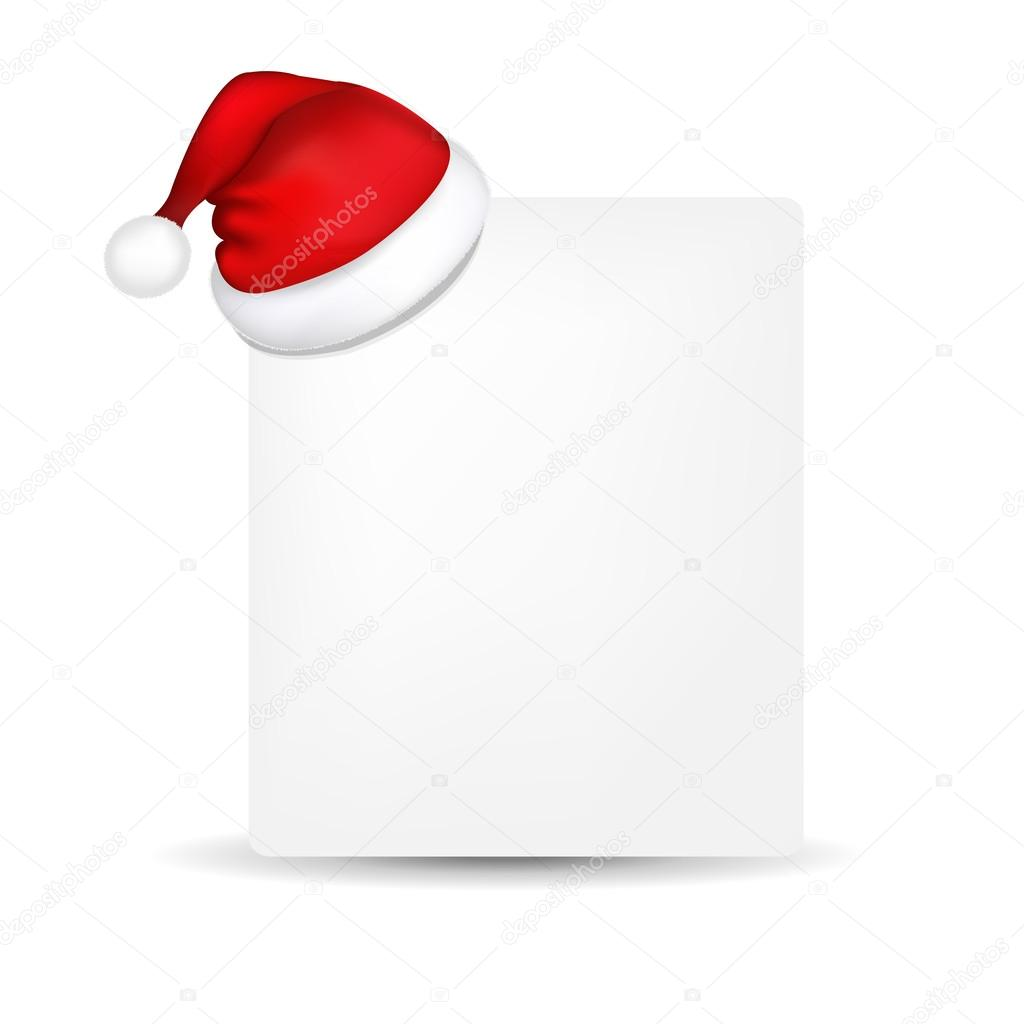 blank paper with santa hat stock vector adamson 13431587