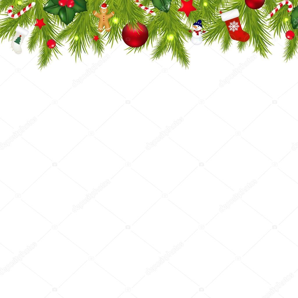 Christmas decorations borders - Christmas Border With Xmas Garland Stock Illustration