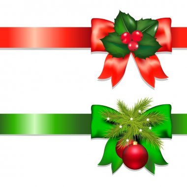 Xmas Ribbons With Holly Berry And Ball