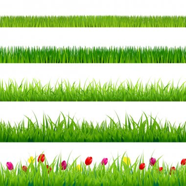 Big Green Grass And Flowers Set With Gradient Mesh, Isolated On Red Background, Vector Illustration stock vector