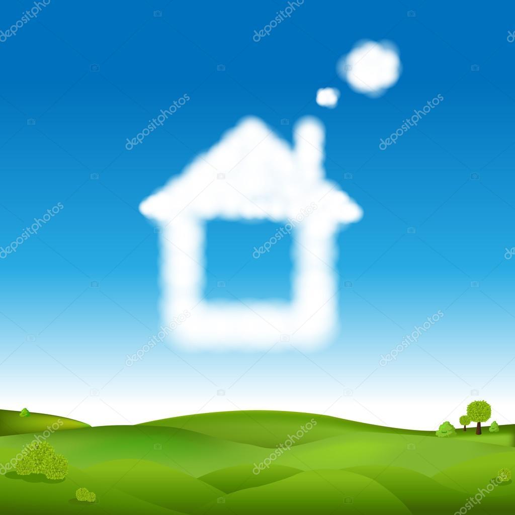 Resumen casa de nubes en el cielo azul y el verde paisaje — Archivo ...