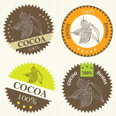 Cocoa bean label - Illustration