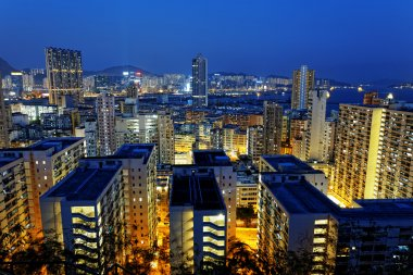 Hong Kong City Night Residential building area