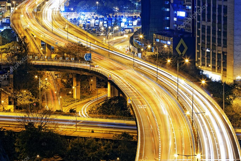 traffic highway in Hong Kong at night