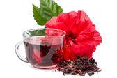 Piros virág és hibiszkusz forró tea
