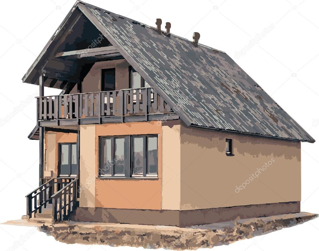 New House On White 2 (vector) U2014 Vetor De Stock