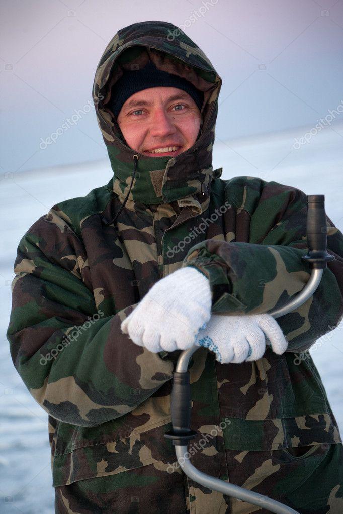 Winter fisherman