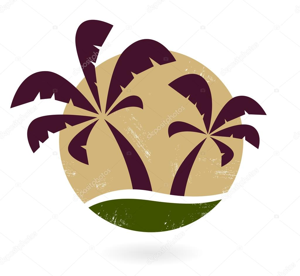 Vintage palm silhouette isolated on white