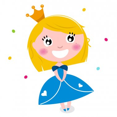 Cute little cartoon princess isolated on white
