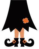 Retro Halloween-Hexe, die isoliert auf weiss