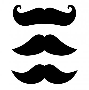 Retro black Mustache set isolated on white