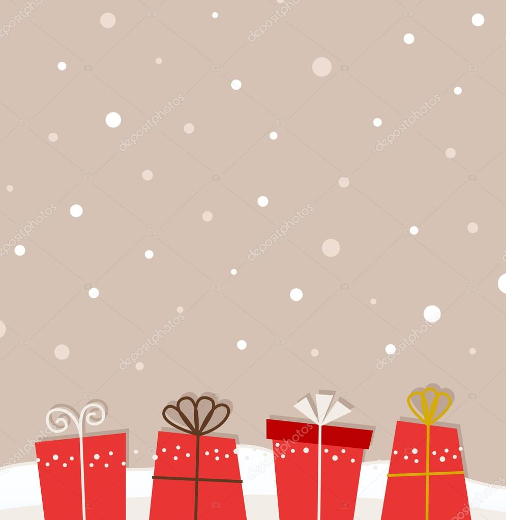 Retro christmas snowing background with gifts — Stock ...