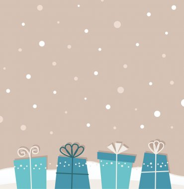 Retro christmas snowing background with gifts