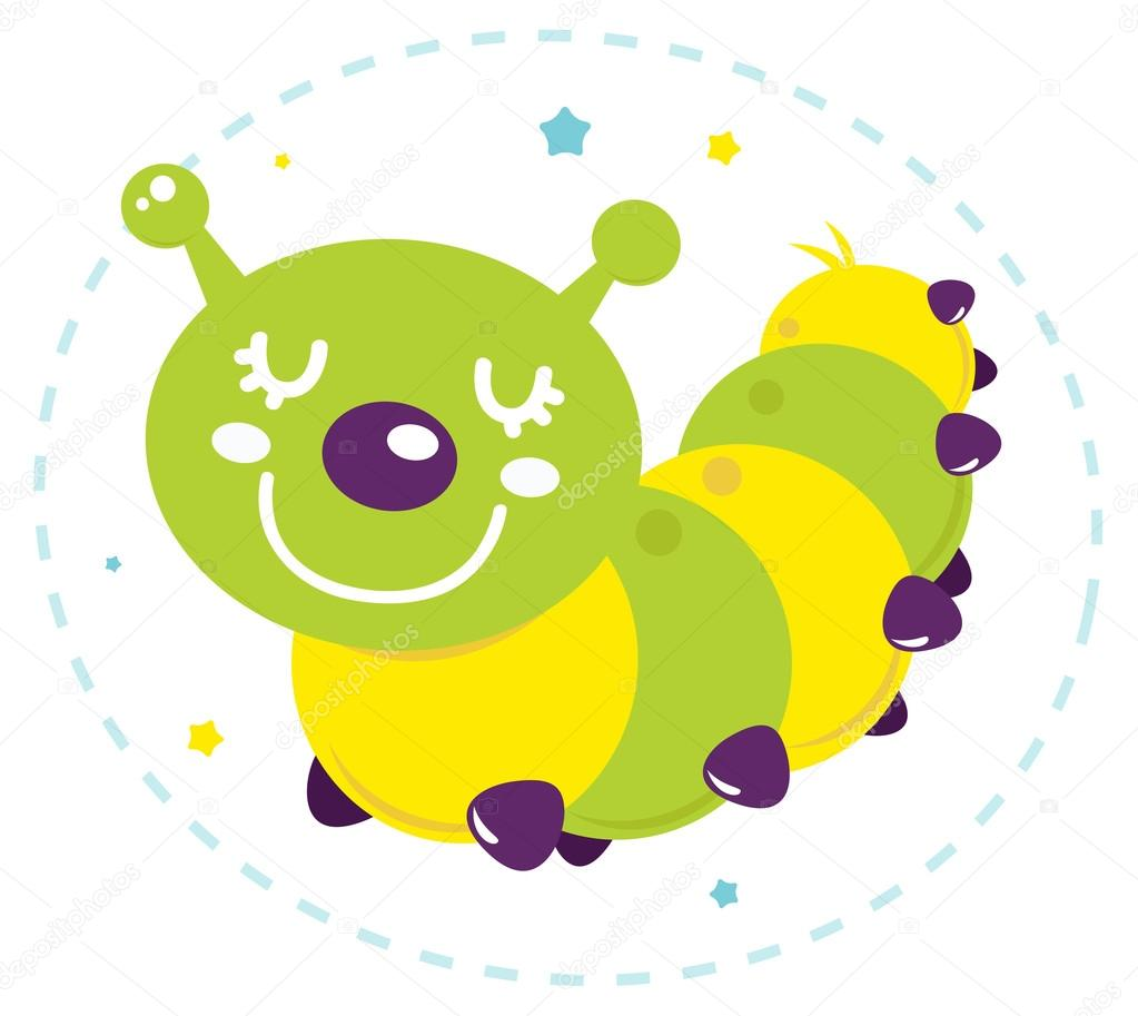 Cute cartoon caterpillar vector isolated on white
