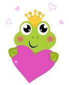 Fotografia carino rana tenendo rosa cuore isolato su bianco