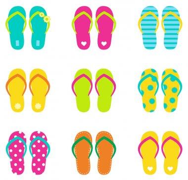 Summer flip flops set isolated on white