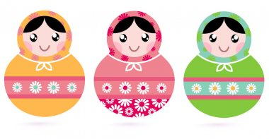 Cute floral colorful Matryoshka set isolated on white