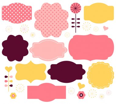 Cute vintage or retro labels collection. Vecto stock vector