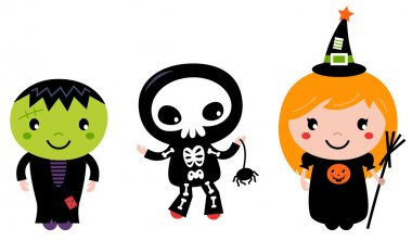 Cute halloween Kids - Zombie, Skeleton and Witch