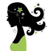 Fényképek gyönyörű nő silhouette virág haj