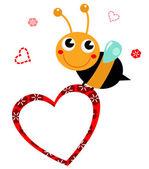 Fotografia carino bella ape con cuore vuoto per la festa della mamma