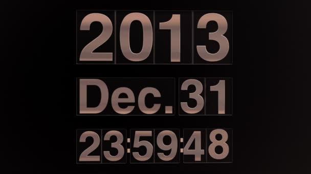 Nový rok 2014 mechanické odpočítávání časovače s datum a čas