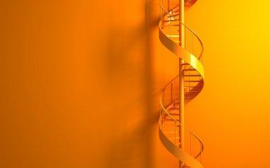 turuncu duvar turuncu döner merdiven