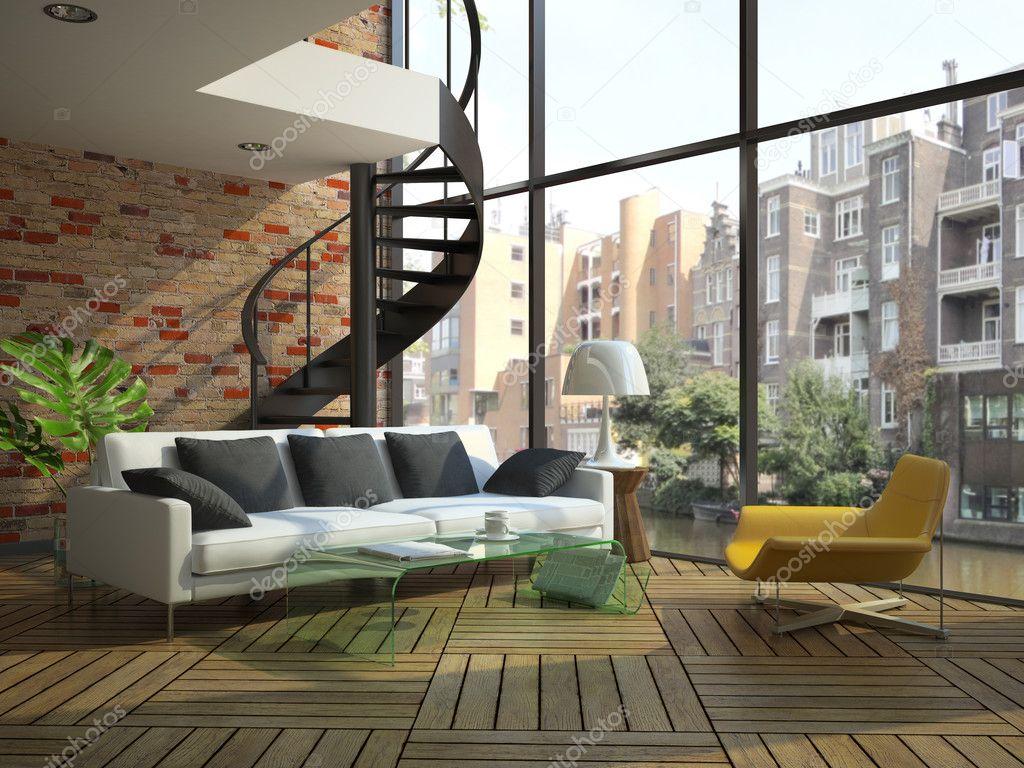Interior moderno loft con parte del segundo piso foto de for Loft modernos exterior