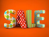 prodej slovo colorfull textilie na šedém pozadí